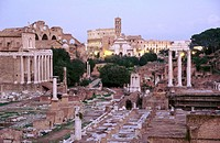 Roman forum and Colosseum in background. Rome. Italy