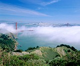 Golden Gate bridge and San Francisco at background. View from Golden Gate National Recreation Area. California. USA
