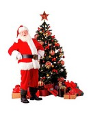Santa In Front of Christmas Tree