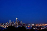 Seattle skyline at night, Washington