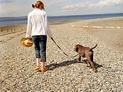 Taking Dog for a Walk on the Beach