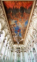 Spectacular ceiling fresco in the Hall of Mirrors (Salon de los Espejos) in Museum of the Revolution (Museo de la Revolucion). Havana, Cuba