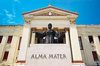 The Alma Mater statue in front of the University of Havana (Universidad de La Habana) entrance. Havana, Cuba