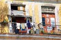 Clothes hanging to dry on a balcony in Old Havana (Habana Vieja).  A UNESCO World Heritage Site, much of Old Havana is still awaiting restoration. Hav...