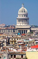 Havana skyline with the Capitolio Nacional dominating the view. The Capitolio's dome stands almost 300 feet high. Cuba