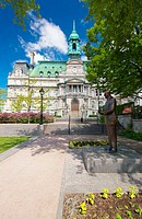 Montreal City Hall (Hotel de Ville) near Place Jacques Cartier in Old Montreal (Vieux Montreal). The statue of Jean Drapeau, ex-mayor of Montreal, sta...