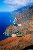 Aerial view of rocky mountains at Na Pali Coast