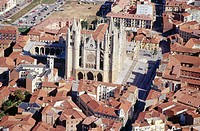 Aerial view of the Cathedral of León.  Castilla y León. Spain