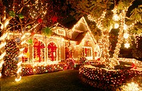 Outdoor christmas decorations in California at night