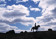 Silhouette of a person on horseback. Iceland, northwest, Skagafjordur.