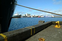 A fishing ship docked at the harbour in Reykjavik