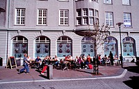 People in an outdoor café in Reykjavik.