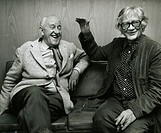 Two men, one of which is the Icelandic Nobelprize writer, Halldor Laxness