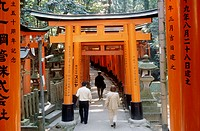 Torii Avenue of the Fushimi Sanctuary in Kyoto. Japan.
