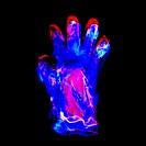 Plastic glove, negative image.