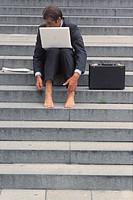 Stairway, businessman, barefoot