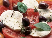 mozzarella cheese, tomatoes, olives, basil