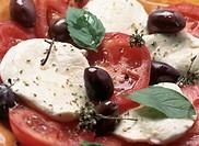 mozzarella cheese, tomatoes, olives, basil