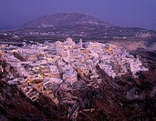 at night, dusk, Greece, Europe, night, Santorini, Cyclades, Thira, twilight, village