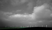 Wind Turbines and a Dramatic Sky, Cornwall, England