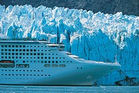 Cruise Ship at Margerie Glacier, Glacier Bay National Park, Alaska, North America, Passengers Sightseeing on Deck
