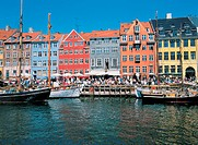 Large Group of People at the Houses at Nyhavn Harbour, Copenhagen, Denmark