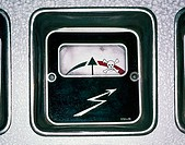 Analog electrical display with flash, arrow and skull symbol, warning about death, danger excessive voltage