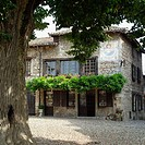 Place de la Halle, main square. Medieval city of Pérouges. Rhône Valley. France