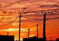 Urban sunset through wires. Hoboken, New Jersey. USA