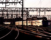 View of New Jersey transit trains at dusk. Hoboken, New Jersey. USA