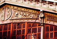 Fa&#231;ade of Lackawana Station in close-up. Hoboken, New Jersey. USA