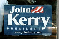 2004 presidential campaign: A John Kerry poster in the window of a Washington DC business.
