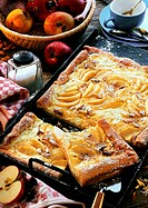 Franconian cheesecake with apples on baking tray