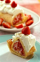 Sponge roll with strawberry and cream filling