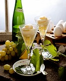 Grape and Riesling sorbet in glasses, ingredients