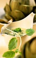 Lemon balm vinaigrette to serve with artichokes