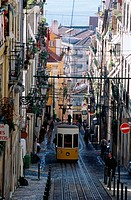 Bica cable car from Chiado Alto. Lisbon. Portugal