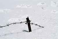 Border boundary wire between india and china covered with snow. Nathula Pass. India