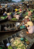 Floating market Phung Hiep, near Cantho. Mekong Delta, Vietnam