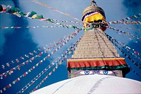 Stupa (Nepalese Buddhist shrine). Bodnath. Kathmandu Valley. Nepal
