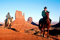 Navajo rider and tourist, Monument Valley Navajo Indian reservation. Utah, USA