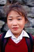 Nepalese girl in school uniform. Phakding, Khumbu, Nepal