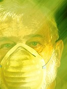 Photo illustration of a man wearing a filter mask to protect against air pollution, dust, or allergens.