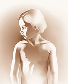 Illustration of the upper body and head of a young girl.