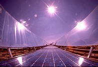 Photovoltaic panels turning sunlight into electricity.