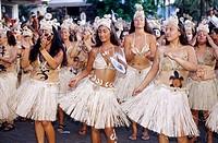 Carnaval. Tapati Rapa Nui festival. Islander. Easter Island. Chile.