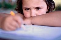 8 years old girl studying homework