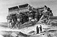 The Kom Ombo Temple, Egypt, sank into the desert sand, engraving from 'Le tour du monde'