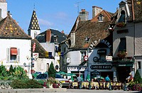 Cafe terraces, houses and shops. Nuits-Saint-Georges, Beaune, Burgundy, France