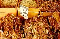 Detail, dried fish at outdoor market. Bangkok, Thailand